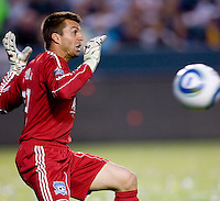 San Jose Earthquakes goalkeeper Jon Busch (18) attempts a save of the ball. The LA Galaxy and the San Jose Earthquakes played to a 2-2 draw at Home Depot Center stadium in Carson, California on Thursday July 22, 2010.
