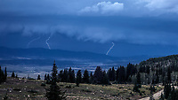A thunder and lightning storm passes through the Steamboat Springs area of Colorado.