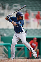 GCL Rays right fielder Diego Infante (17) at bat during a game against the GCL Red Sox on August 1, 2018 at JetBlue Park in Fort Myers, Florida.  GCL Red Sox defeated GCL Rays 5-1 in a rain shortened game.  (Mike Janes/Four Seam Images)