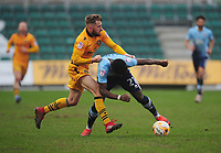Blackpool's Bright Osayi-Samuel is fouled by Newport County's Dan Butler<br /> <br /> Photographer Kevin Barnes/CameraSport<br /> <br /> The EFL Sky Bet League Two - Saturday 18th March 2017 - Newport County v Blackpool - Rodney Parade - Newport<br /> <br /> World Copyright &copy; 2017 CameraSport. All rights reserved. 43 Linden Ave. Countesthorpe. Leicester. England. LE8 5PG - Tel: +44 (0) 116 277 4147 - admin@camerasport.com - www.camerasport.com
