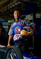 Oct. 31, 2008; Las Vegas, NV, USA: NHRA top fuel dragster driver Antron Brown poses for a portrait during qualifying for the Las Vegas Nationals at The Strip in Las Vegas. Mandatory Credit: Mark J. Rebilas-