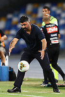 19th July 2020; Stadio San Paolo, Naples, Campania, Italy; Serie A Football, Napoli versus Udinese; Gennaro Gattuso coach of Napoli collects a wayward ball