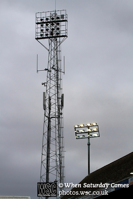 Peterborough United 1 Chesterfield 0, 21/03/2015. Abax Stadium, League One. The old and new floodlights pictured at the Abax Stadium, as Peterborough United play Chesterfield in a SkyBet League One fixture. The home team won the match by one goal to nil, watched by a crowd of 6,612. The result allowed Peterborough to leapfrog their opponents into the League One play-off positions with eight games remaining of the season. Photo by Colin McPherson.