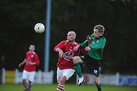VOETBAL: JUBBEGA: Sportpark 't Heidefjild, 16-05-2012, Nacompetitie, Zondag 4e klasse B, SC Boornbergum'80 - Haulerwijk, Eindstand 2-1, Jan-Wierd Ritsema (#12 | HW), Patrick Fiene (#12 | BB), ©foto Martin de Jong