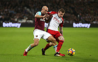 West Ham United's Pablo Zabaleta and West Bromwich Albion's James McClean<br /> <br /> Photographer Rob Newell/CameraSport<br /> <br /> The Premier League - West Ham United v West Bromwich Albion - Tuesday 2nd January 2018 - London Stadium - London<br /> <br /> World Copyright &copy; 2018 CameraSport. All rights reserved. 43 Linden Ave. Countesthorpe. Leicester. England. LE8 5PG - Tel: +44 (0) 116 277 4147 - admin@camerasport.com - www.camerasport.com
