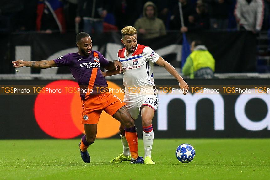Raheem Sterling of Manchester City tackles Lyon's Fernando Marcal during Lyon vs Manchester City, UEFA Champions League Football at Groupama Stadium on 27th November 2018