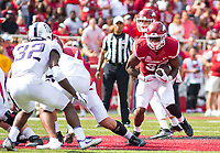 TCU Horned Frogs vs Arkansas Razorbacks –David Williams(33) of the Razorbacks runs the ball up the middle against the Horned Frogs at Donald W. Reynolds Razorback Stadium, University of Arkansas,  Fayetteville, AR, on Saturday, September 9, 2017,  © 2017 David Beach
