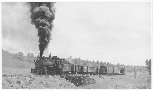 RGS #20 between Pine Ridge and Porter with 7 cars at 10 mph crossing Bridge 155-A.<br /> RGS  Pine Ridge, CO  Taken by Kindig, Richard H. - 6/4/1951