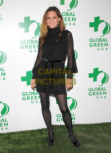 JOSIE MARAN.The 6th Annual Global Green USA Pre-Oscar Party benefiting Green Schools held at Avalon in Hollywood, California, USA..February 19th, 2009.full length black dress sheer sleeves tights ribbon belt .CAP/DVS.©Debbie VanStory/Capital Pictures.