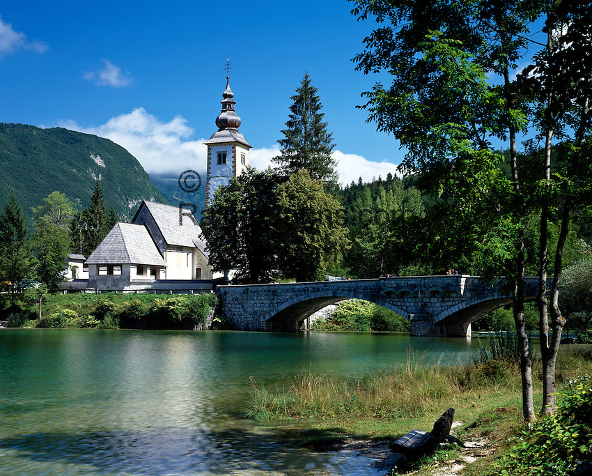 Slovenia, Gorenjska, Slovenian Corinthia, Lake Bohinj (Bohinjsko jezero) at Triglav-National Park,  church of St. John (the Baptist)