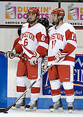Joe Pereira (BU - 6), Victor Saponari (BU - 17) - The Boston University Terriers defeated the Merrimack College Warriors 6-4 on Saturday, November 14, 2009, at Agganis Arena in Boston, Massachusetts.