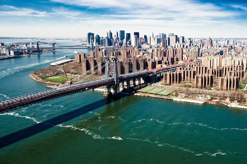 The Williamsburg Bridge and lower east-side of Manhattan over the East River.