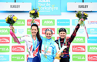 Picture by SWpix.com 04/05/2018 - Cycling Asda Women's Tour de Yorkshire - Stage 2 Barnsley to Ilkley - The podium for Stage 2 of the Asda Tour de Yorkshire Women's Race - Great Britain's Danielle Rowe, Boels Dolmans Megan Guarnier & Canyon SRAM's Alena Amialiusik.
