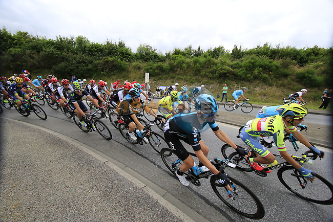 Riders including Vasil Kiryienka (BLR) Team Sky pass through Segre during Stage 3 of the 2016 Tour de France, running 223.5km from Granville to Angers, France . 4th July 2016.<br /> Picture: Eoin Clarke | Newsfile<br /> <br /> <br /> All photos usage must carry mandatory copyright credit (&copy; Newsfile | Eoin Clarke)