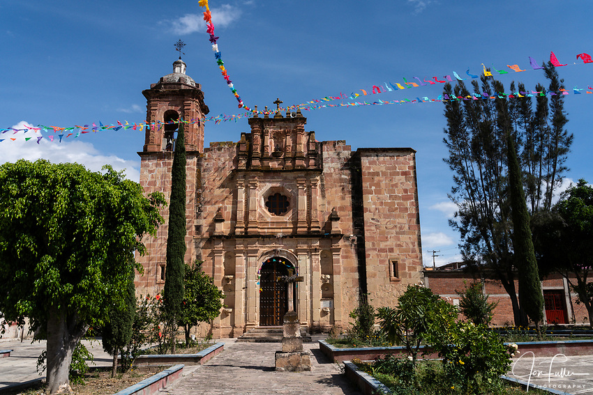 The 16th Century stone Church of San Marcos Tlapazola in the pueblo of San Marcos Tlapazola, in the Central Valleys of Oaxaca, Mexico.  The church's second belltower was destroyed by an earthquake.