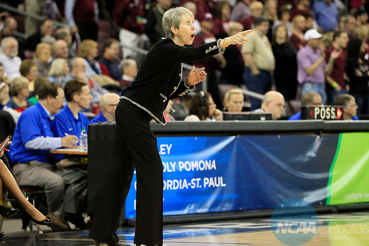28 MAR 2014: Barbara Stevens coach of Bentley University reacts to a second half call against West Texas A&M during the Division II Women's Basketball Championship held at the Erie Insurance Arena in Erie,PA.  Bentley defeated West Texas A&M 73-65 for the National title. Harry Scull Jr./NCAA Photos