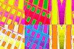 Colorful abstract with yellow, purple, orange, red, green and blue.  Contains six panels with geometric and linear designs