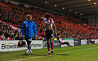 Lincoln City's Lee Angol, right, walks off the pitch with Lincoln City's head of sports science and medicine Mike Hine after suffering an injury<br /> <br /> Photographer Chris Vaughan/CameraSport<br /> <br /> Vanarama National League - Lincoln City v Chester - Tuesday 11th April 2017 - Sincil Bank - Lincoln<br /> <br /> World Copyright &copy; 2017 CameraSport. All rights reserved. 43 Linden Ave. Countesthorpe. Leicester. England. LE8 5PG - Tel: +44 (0) 116 277 4147 - admin@camerasport.com - www.camerasport.com