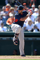 Boston Red Sox first baseman Travis Shaw (77) during a spring training game against the Baltimore Orioles on March 8, 2014 at Ed Smith Stadium in Sarasota, Florida.  Baltimore defeated Boston 7-3.  (Mike Janes/Four Seam Images)