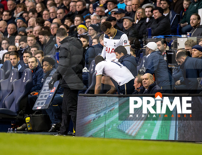 Dele Alli of Tottenham Hotspur prepares to come on during the FA Cup 4th round match between Tottenham Hotspur and Wycombe Wanderers at White Hart Lane, London, England on the 28th January 2017. Photo by Liam McAvoy.