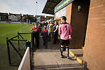 Home goalkeeper Matt cooper is sent off at the Mersey Travel Arena, home to Marine Football Club (in white), as they played host to Ilkeston FC in a Northern Premier League premier division match. The match was won by the home side by 3 goals to 1 and was watched by a crowd of 398. Marine are baed in Crosby, Merseyside and have played at Rossett Park (now the Mersey Travel Arena) since 1903, the club having been formed in 1894.