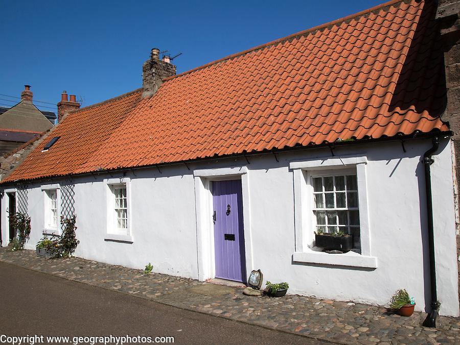 Traditional village housing, Holy Island, Lindisfarne, Northumberland, England, UK