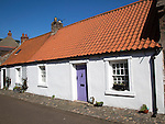 Traditional village housing, Holy Island, Lindisfarne, Northumberland, England, UK