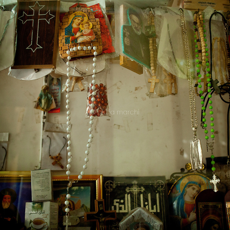 Egypt / Cairo / 15.4.2012 / Rosaries and sacred images in a church in Shubra, an area in the North of Cairo now heavily populated, with an estimated three million residents, including a large Coptic population. Shubra has the highest concentration of Copts in Cairo. Egypt, April 15th 2012.