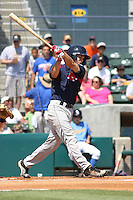 Peter Hissey #10 of the Salem Red Sox at bat during a game against the Myrtle Beach Pelicans on May 16, 2010 at BB&T Coastal Field in Myrtle Beach, SC.