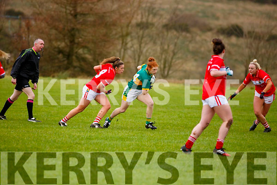 Louise Ni Mhuircheartaigh makes her way past Cork's Aisling Hutchings during their encounter in the opening round of the Lidl NFL Division1 on Sunday last in Knocknagoshel.