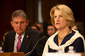 United States Senator Joe Manchin III (Democrat of West Virginia) and United States Senator Shelley Moore Capito (Republican of West Virginia) speak at the confirmation hearing of Daniel Bress to become a U.S. circuit judge for the ninth circuit, as well as the nomination of several district judges on Capitol Hill in Washington D.C., U.S. on May 22, 2019.<br /> <br /> Credit: Stefani Reynolds / CNP