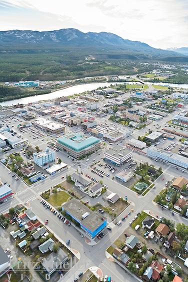 Aerial photo of the city of Whitehorse, Yukon along the Yukon River