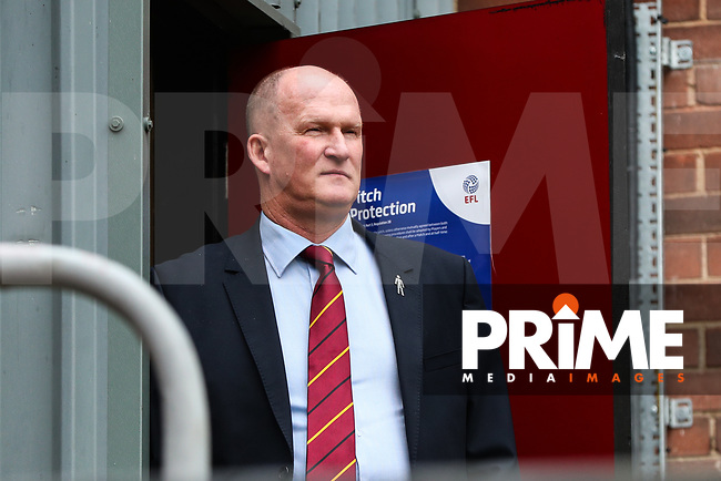 Bradford City manager Simon Grayson looks out onto the Valley Parade pitch before referee Ben Toner called the game off during the Sky Bet League 1 match between Bradford City and MK Dons at the Northern Commercial Stadium, Bradford, England on 10 March 2018. Photo by Thomas Gadd.