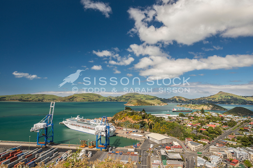 View over Port Chalmers and across to Otago Peninsula, Dunedin, New Zealand - stock photo, canvas, fine art print