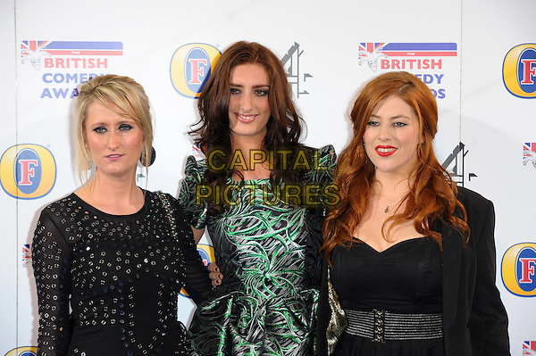 Lauren O'Rourke, Jessica Kappett and Lydia Rose Bewley attends the British Comedy Awards at Fountain Studios on December 12, 2013 in London, England.CAP/CJ<br /> &copy;Chris Joseph/Capital Pictures