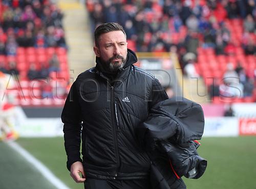 17th March 2018, Pittodrie Stadium, Aberdeen, Scotland; Scottish Premier League football, Aberdeen versus Dundee; Aberdeen manager Derek McInnes