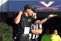 Head coach Mark Helfrich Oregon defeated Virginia 59-10 during an NCAA college football game at Scott Stadium, Saturday, Sept. 7, 2013, in Charlottesville, Va. (Photo/Andrew Shurtleff)