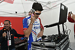 Groupama-FDJ rider tries his hand mixing the tunes at sign on before Stage 15 of the 2019 Giro d'Italia, running 232km from Ivrea to Como, Italy. 26th May 2019<br /> Picture: Fabio Ferrari/LaPresse | Cyclefile<br /> <br /> All photos usage must carry mandatory copyright credit (© Cyclefile | Fabio Ferrari/LaPresse)