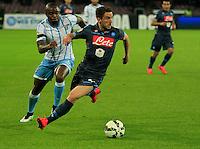 Edson Braafheid  Dries Mertens  durante l'incontro di ritorno della semifinale  Tim Cup tra     Napoli - Lazio allo  Stadio San Paolo  di Napoli ,08 Aprile  2015