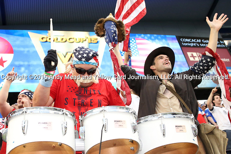 13 July 2015: United States fans. The United States Men's National Team played the Panama Men's National Team at Sporting Park in Kansas City, Kansas in a 2015 CONCACAF Gold Cup Group A match.