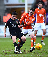 Blackpool's Callum Cooke vies for possession with Walsall's George Dobson<br /> <br /> Photographer Richard Martin-Roberts/CameraSport<br /> <br /> The EFL Sky Bet League One - Blackpool v Walsall - Saturday 10th February 2018 - Bloomfield Road - Blackpool<br /> <br /> World Copyright &not;&copy; 2018 CameraSport. All rights reserved. 43 Linden Ave. Countesthorpe. Leicester. England. LE8 5PG - Tel: +44 (0) 116 277 4147 - admin@camerasport.com - www.camerasport.com