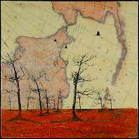 Antique map sky with bare tree silhouette Mixed media encaustic photo transfer by Jeff League.