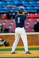 Tommy Coyle #1 of the North Carolina Tar Heels at bat against the Wake Forest Demon Deacons at Gene Hooks Field on March 11, 2011 in Winston-Salem, North Carolina.  Photo by Brian Westerholt / Four Seam Images