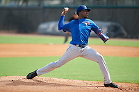 GCL Blue Jays relief pitcher Elieser Medrano (22) delivers a pitch during the first game of a doubleheader against the GCL Yankees East on July 24, 2017 at the Yankees Minor League Complex in Tampa, Florida.  GCL Blue Jays defeated the GCL Yankees East 6-3 in a game that originally started on July 8th.  (Mike Janes/Four Seam Images)