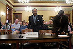 Roland Burris, Gov. Rod Blagojevich's choice to fill Barack Obama's Senate seat, appears before the House impeachment committee on their seventh day of hearings at the Illinois State Capitol in Springfield, Ill., January 8, 2009. .Kristen Schmid Schurter