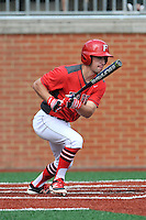 Shortstop Jack Gethings (2) of the Fairfield Stags bats in a game against the Charlotte 49ers on Saturday, March 12, 2016, at Hayes Stadium in Charlotte, North Carolina. (Tom Priddy/Four Seam Images)