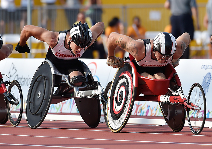 Toronto, ON - Aug 14 2015 - Alex Dupont and Joshua compete in the Men's 1500m T54 Final in the CIBC Athletics Stadium during the Toronto 2015 Parapan American Games  (Photo: Matthew Murnaghan/Canadian Paralympic Committee)