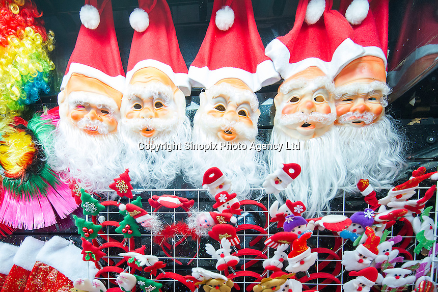 November 27, 2015, Yiwu China - Cheap Christmas  decorations on dispay inside the Festival Arts section of the Yiwu International Trade Market. Yiwu International Trade Market is the world's largest whole sale market for small commodities. Christmas decorations are available for bulk purchase all the year round.Photo by Dave Tacon / Sinopix
