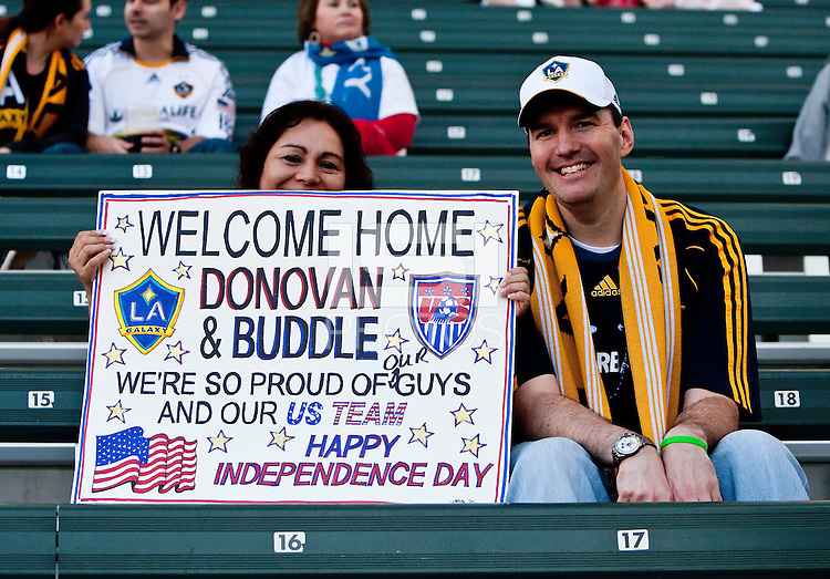 LA Galaxy fans welcome back Landon Donovan and Edson Buddle at the game between LA Galaxy and the Seattle Sounders at the Home Depot Center in Carson, CA, on July 4, 2010. LA Galaxy 3, Seattle Sounders 1.
