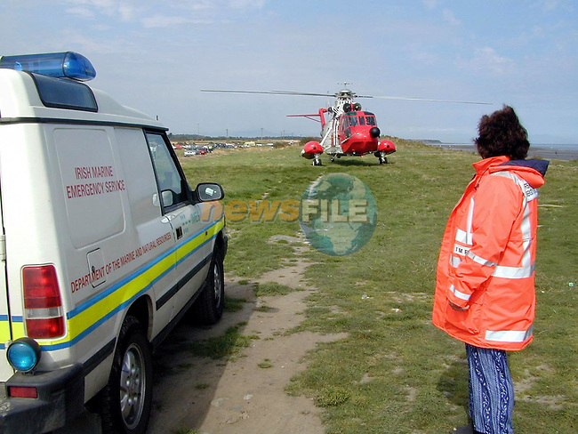 The rescue helicopter at Dunany Point on Sunday morning..Picture Paul Mohan Newsfile